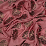 Pastel Pink Floral Pattern Coffee Foil Modal Satin Fabric