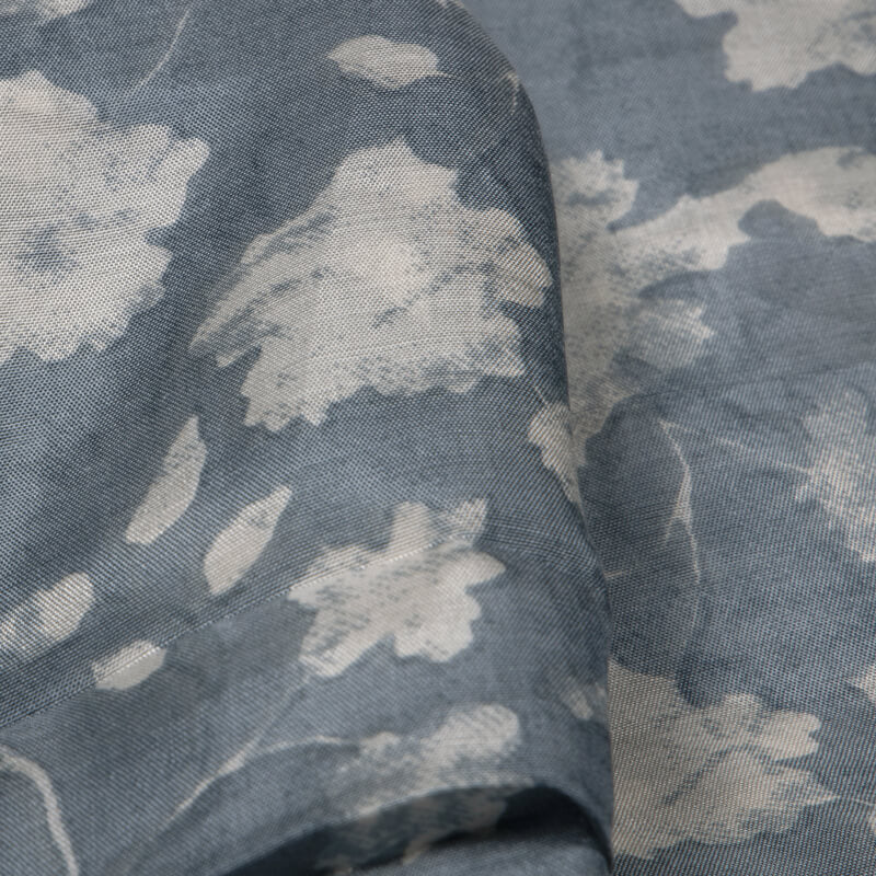 Light Grey Floral Pattern Viscose Muslin Fabric