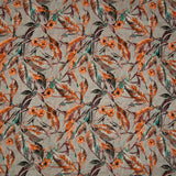 Grey And Peach Leaf Pattern Cotton Slub Fabric