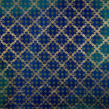 Royal Blue Ethnic Print On Kota Doriya Foil Fabric