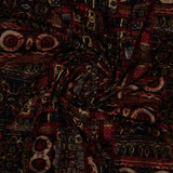 Red And Black Abstract Pattern Screen Print Viscose Rayon Fabric