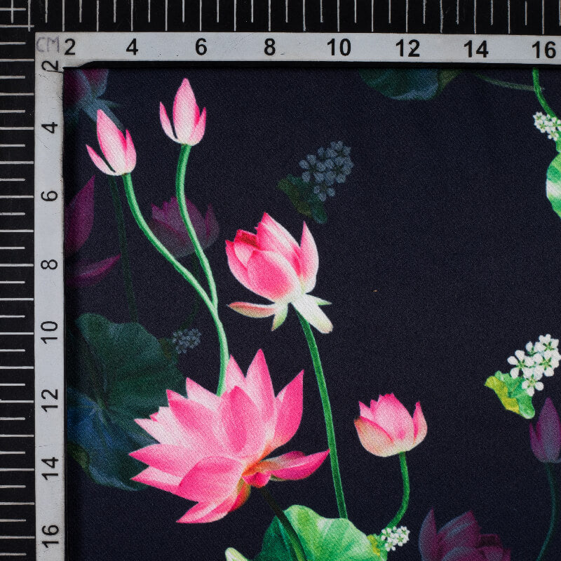 Navy Blue And Pink Floral Pattern Digital Print Heavy Satin Fabric (Width 58 Inches)
