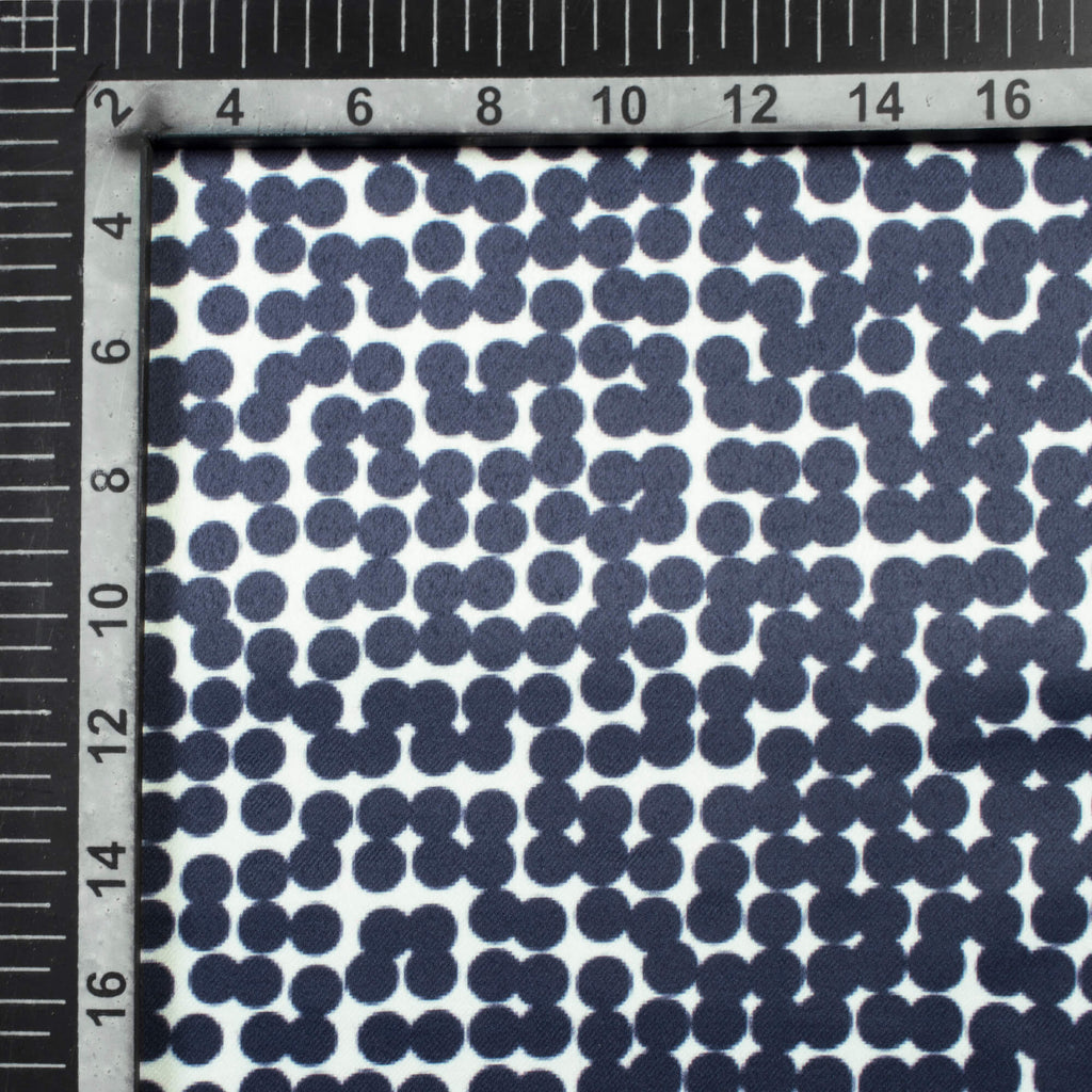 White And Dark Blue Polka dots Pattern Digital Print Heavy Satin Fabric (Width 52 Inches)