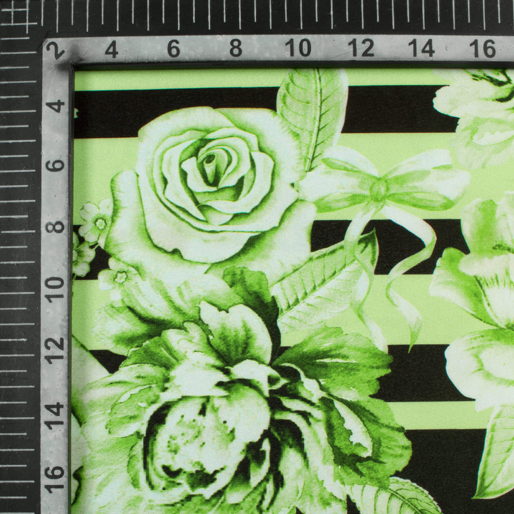 Pistachio Green And Black Floral Pattern Digital Print Heavy Satin Fabric (Width 56 Inches)