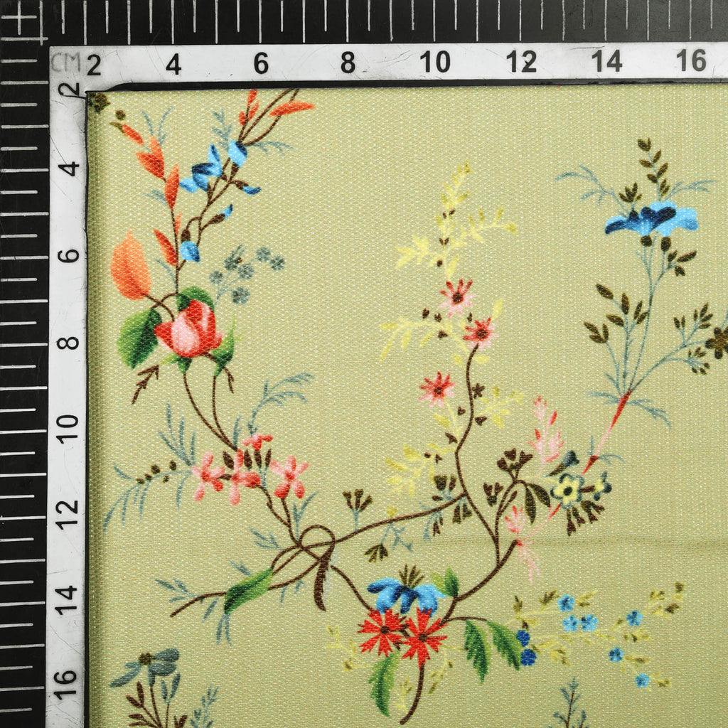 Light Khakhi Green And Peach Floral Pattern Digital Print Furnishing Fabric (Width 56 Inches)