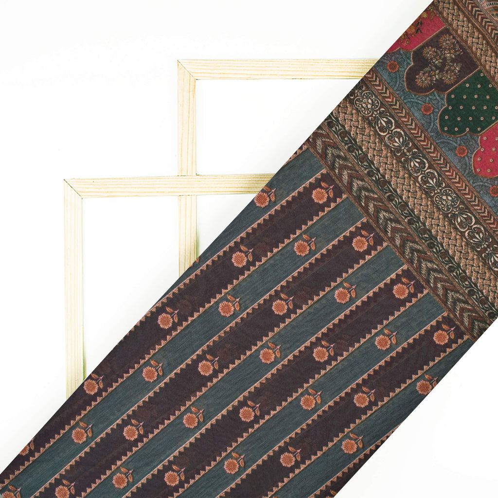 Maroon And Green Geometric Pattern Digital Print Georgette Fabric