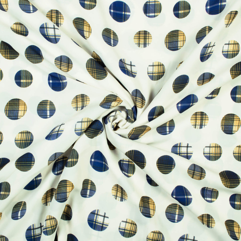Snow White And Blue Geometric Pattern Digital Print Crepe Fabric (Widtth 58 Inches)