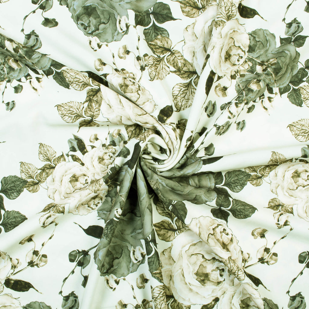 Cream And Grey Floral Pattern Digital Print Crepe Fabric (Width 56 Inches)