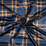 Prussian Blue And Beige Checks Pattern Digital Print Lycra Fabric