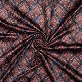 Dark Blue And Salmon Peach Traditional Pattern Digital Print Georgette Satin Fabric (Width 56 Inches)