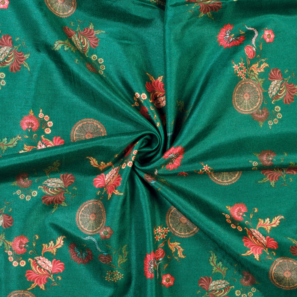 Green and Orange Floral Pattern Digital Print Lycra Fabric - Fabcurate