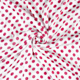 White And Punch Pink Polka Dots Pattern Digital Print Georgette Satin Fabric