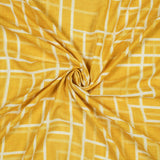 (Cut Piece 0.75 Mtr) Honey Yellow And White Abstract Pattern Digital Print Cotton By Linen Fabric