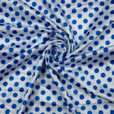 Satin Fabric With White Polka Dots Digital Print