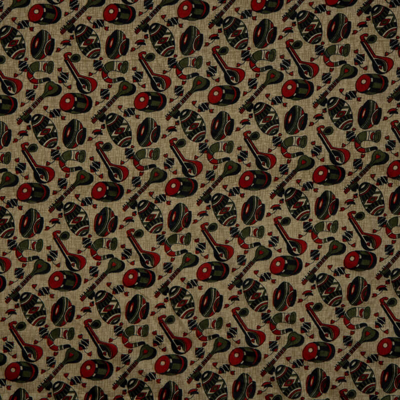 Red And Olive Object Pattern Art Silk Lustrous Fabric