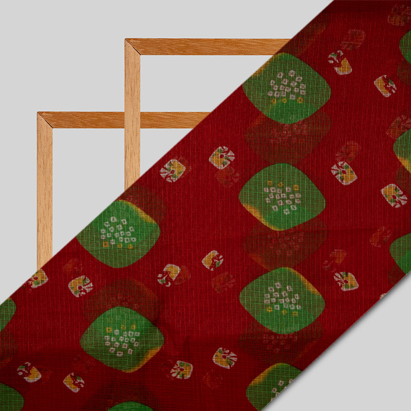 Red Bandhani Pattern Kota Doria Fabric
