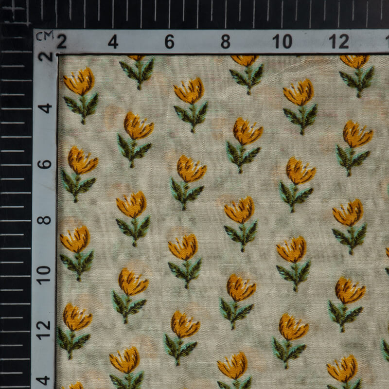Light Grey And Mustard Floral Pattern Viscose Muslin Fabric