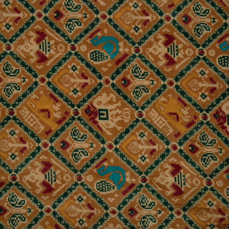 Light Brown Enrich Ikat Printed Manipuri Fabric