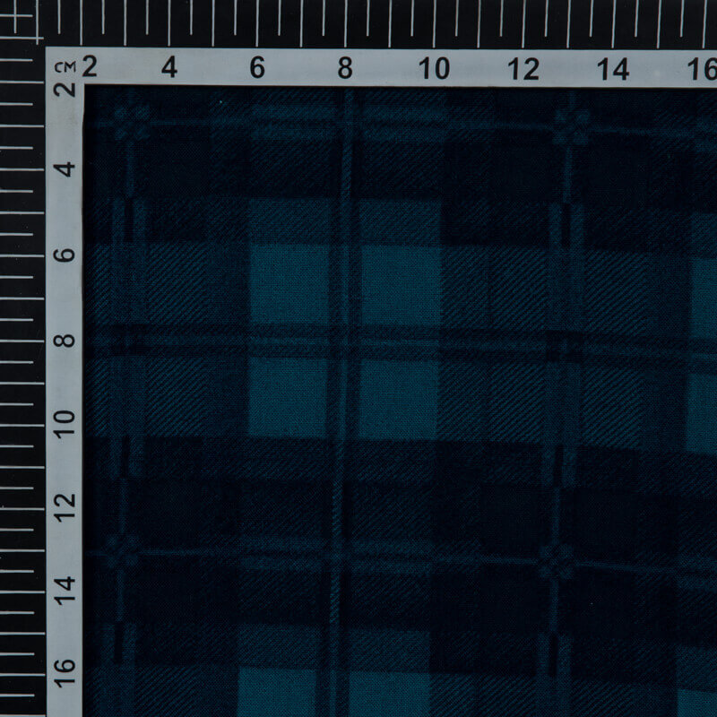 Blue Checks Pattern Screen Print Viscose Rayon Fabric