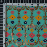 Sky Geometric Pattern Jacquard Chanderi Fabric