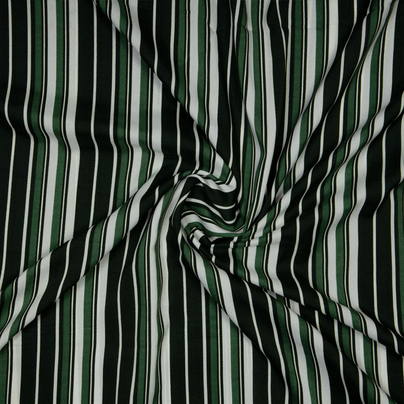 Olive And White Stripes Pattern Screen Print Micro Crepe Fabric