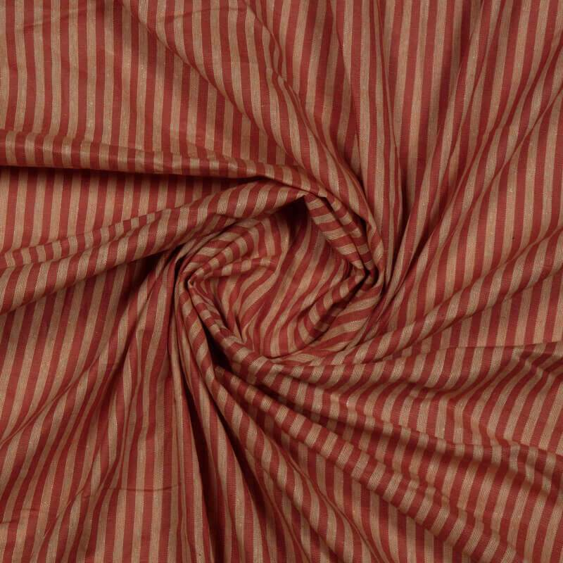Red And Salmon Stripes Pattern Yarn Dyed Cotton Fabric