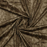 Brown Abstract Pattern Screen Print Slub Satin Fabric