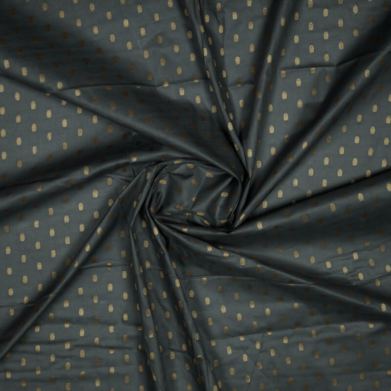 Dark Grey Butti Cotton Jari Jacquard Fabric