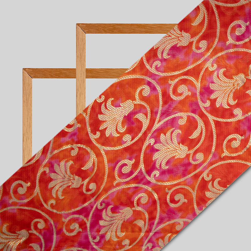 Orange And Dark Pink Ethnic Work Kota Doriya Foil Fabric