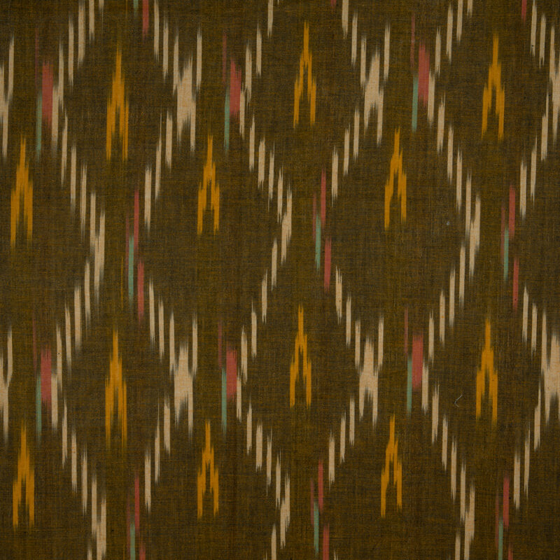 Light Brown Weaved Bhagalpuri Ikat Cotton Fabric