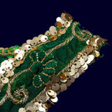 Light Gold Tiki Green Thread Cut Work Embroidery Lace (9 Mtr)
