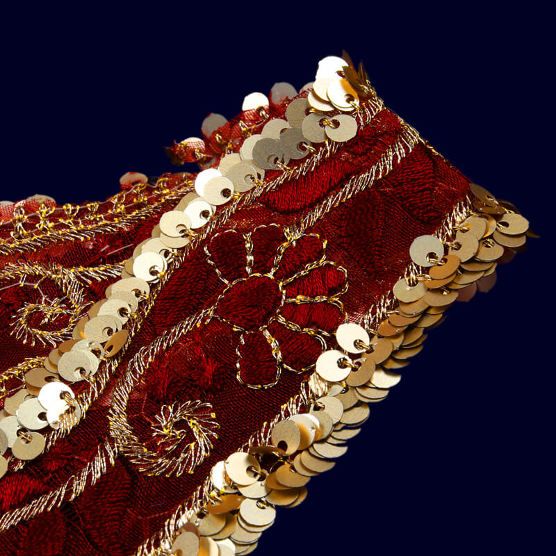 Light Gold Tiki Maroon Thread Cut Work Embroidery Lace (9 Mtr)