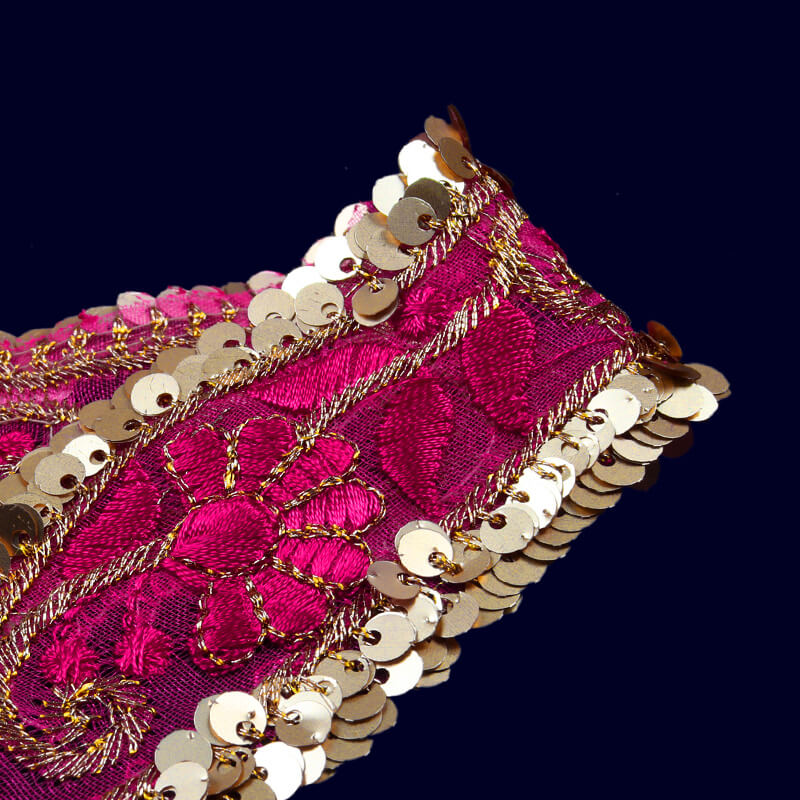 Light Gold Tiki Magenta Thread Cut Work Embroidery Lace (9 Mtr)