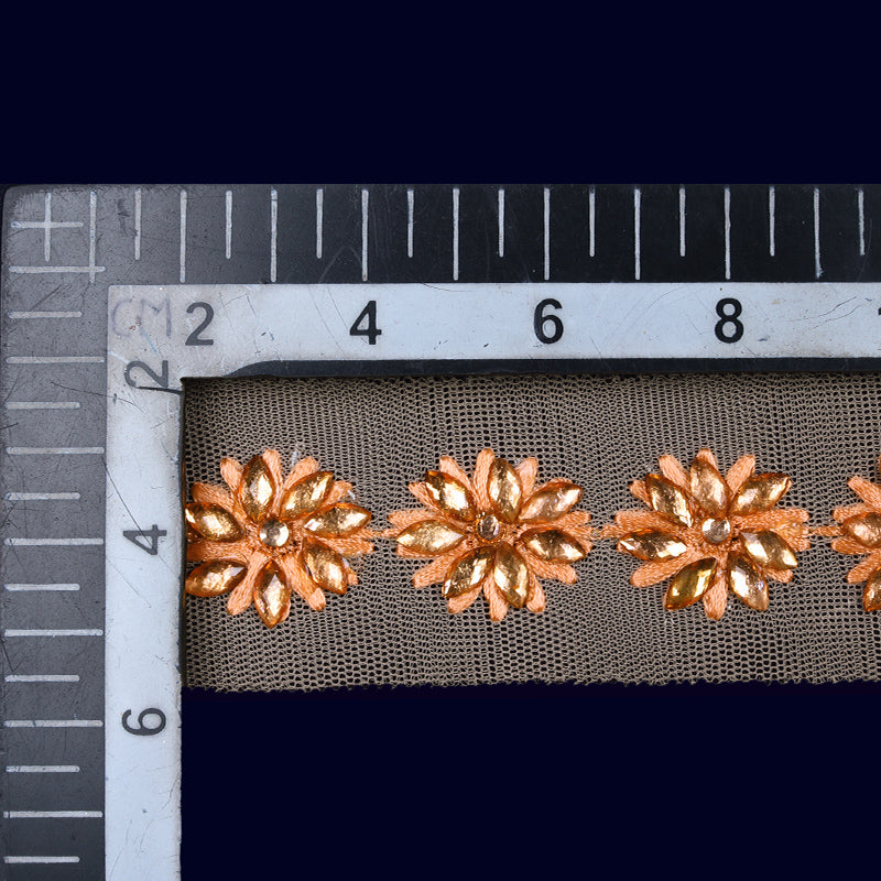 Peach Stone Cut Work Embroidery Lace (9 Mtr)