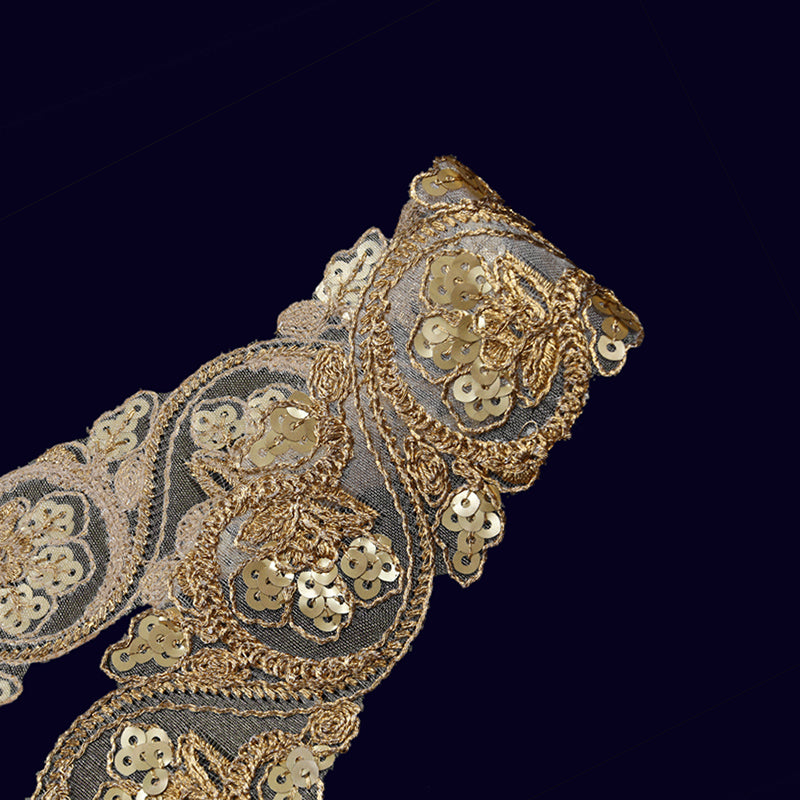 Gold Jari Sequins Embroidery Lace (9 Mtr)