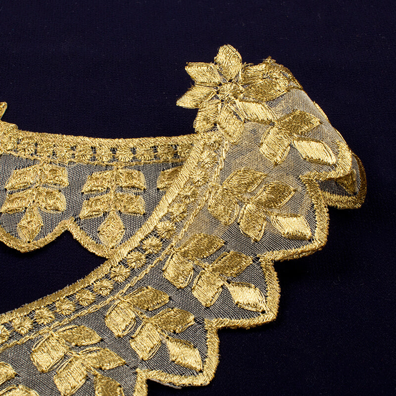 Gold Jari Thread Cut Work Embroidery Lace (9 Mtr)