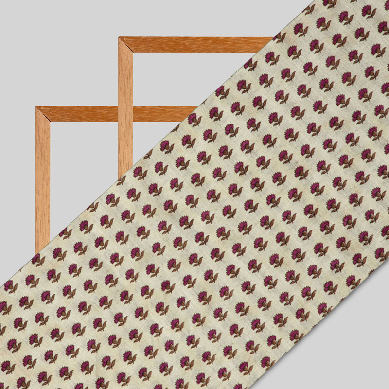 Cream And Maroon Floral Flex Cotton Fabric