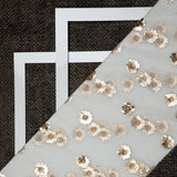 White Floral Pattern Premium Sequins Net Fabric