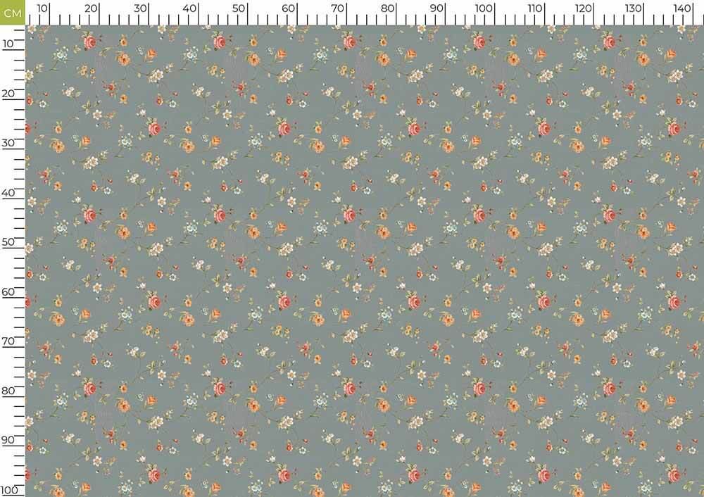 Lava Grey And Indian Red Floral Pattern Digital Print Curate