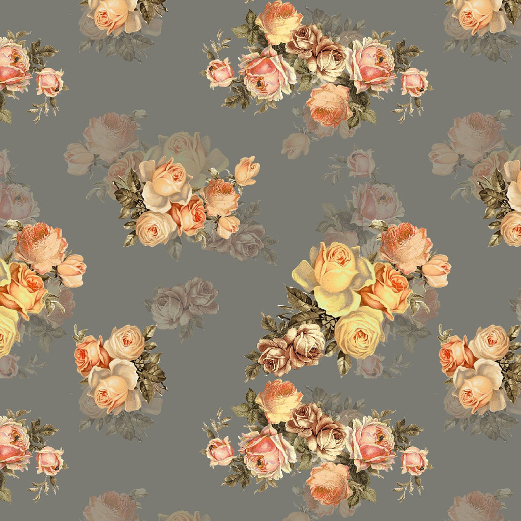 Grey And Salmon Peach Floral Pattern Digital Print Curate