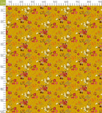Mustard Yellow And Red Floral Pattern Digital Print Curate
