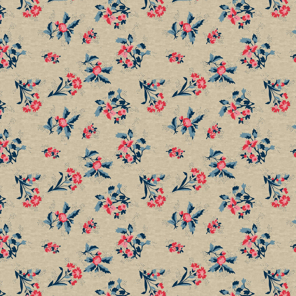 Oat Beige And Red Floral Pattern Digital Print Curate