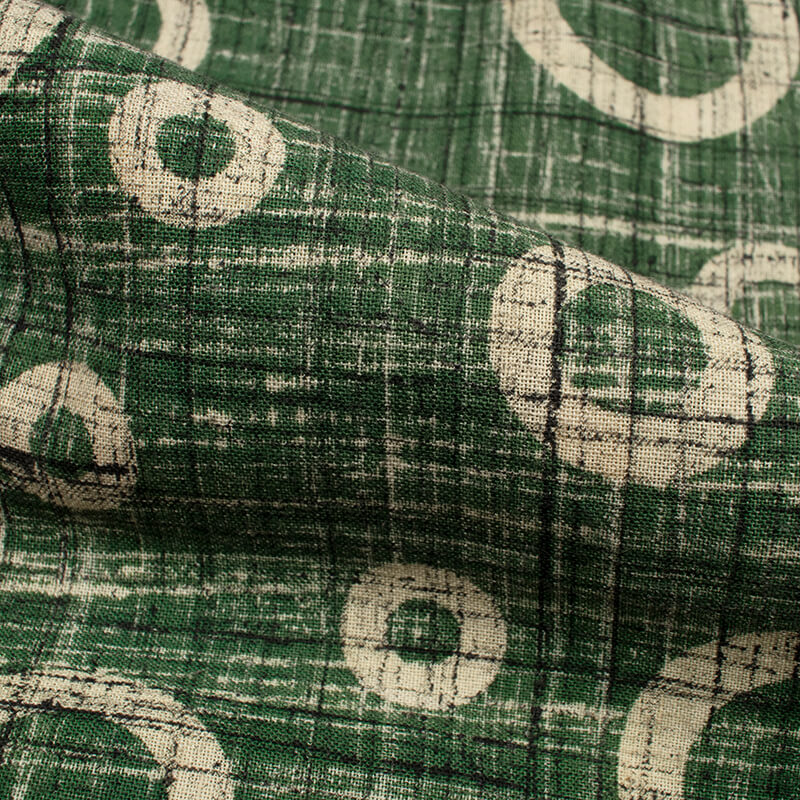 Green And Cream Geometric Pattern Ajrakh Handblock Cotton Fabric