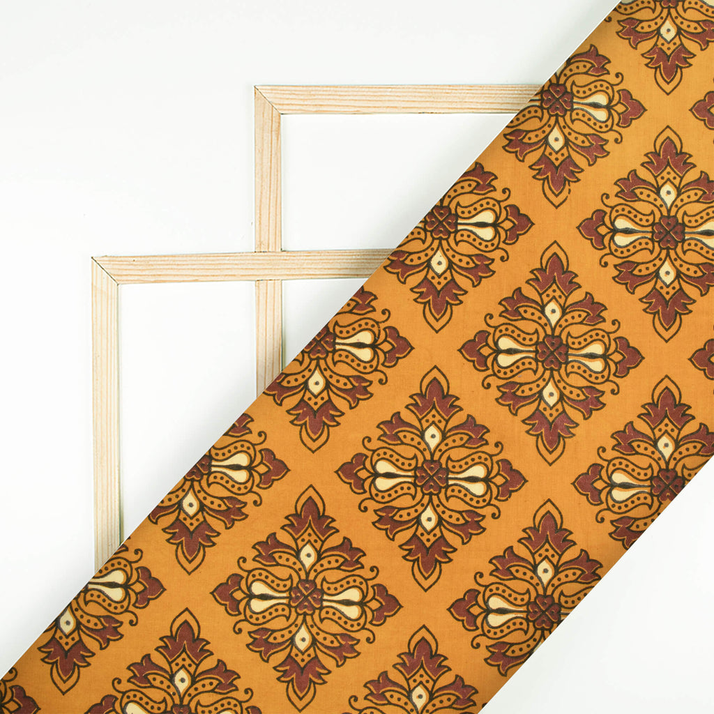 Honey Yellow And Brown Traditional Pattern Ajrakh Screen Print Natural Dye Cotton Fabric - Fabcurate