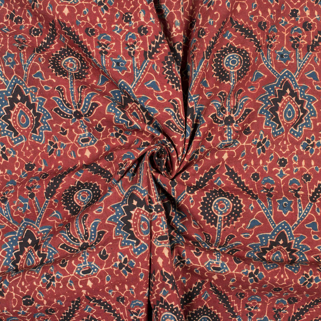 Sangria Red And Black Traditional Pattern Ajrakh Handblock Natural Dye Organic Cotton Fabric