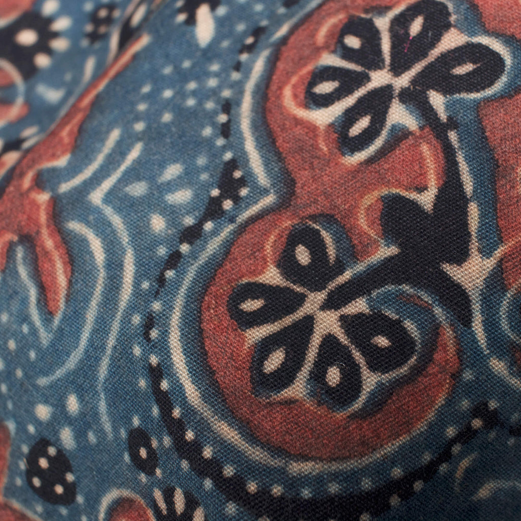 Prussian Blue And Sangria Red Traditional Pattern Ajrakh Handblock Natural Dye Organic Cotton Fabric