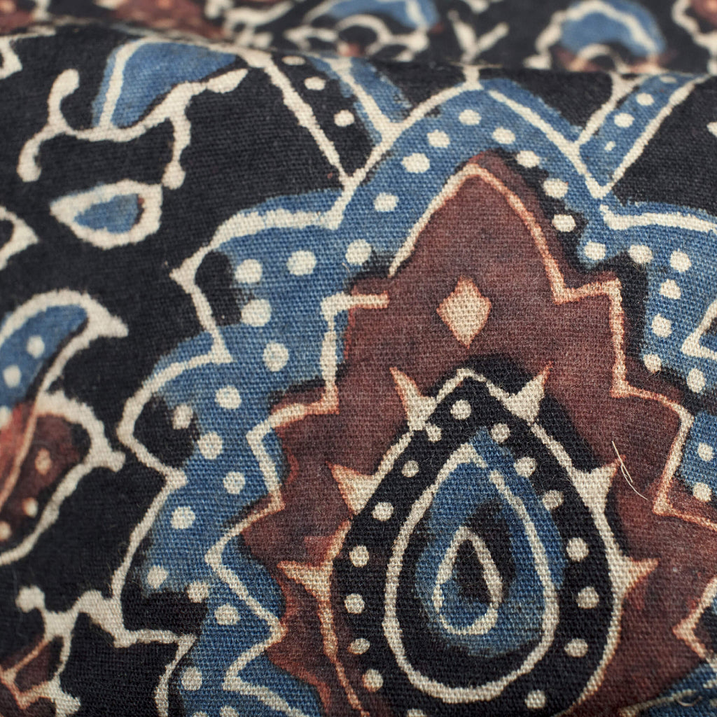 Black And Sangria Red Traditional Pattern Ajrakh Handblock Natural Dye Organic Cotton Fabric