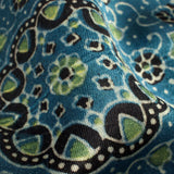 Aegean Blue And Black Traditional Pattern Ajrakh Handblock Natural Dye Mashru Silk Fabric