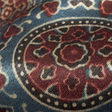Aegean Blue And Red Traditional Pattern Ajrakh Handblock Natural Dye Mashru Silk Fabric