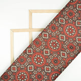 Walnut Brown And Berry Red Traditional Pattern Ajrakh Screen Print Viscose Modal Satin Fabric